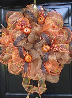 Poly Deco FALL Orange Brown Mesh Wreath by sayitwithawreathcom, $115.00