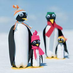 Pingüins amb ampolles de plàstic