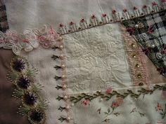 Crazy Quilt Block - beautiful stitches