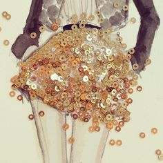 Creative ideas for fashion design sketchbook work - gold sequins watercolour illustration