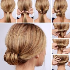 Lulus How-To: Low Rolled Updo Hair Tutorial Need to get party-ready in a pinch? Or maybe you're in need of a new look for that upcoming dinner party? Our Low Rolled Updo is just the thing! Lazy Girl Hairstyles, Step By Step Hairstyles, Cool Hairstyles, Hairstyle Ideas, Brunette Hairstyles, Casual Hairstyles, Hairstyles 2018, Hairdos, Interview Hairstyles
