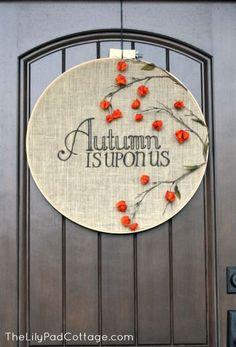 Adorable embroidery Hoop Fall Door Decor Tutorial