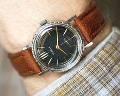Black Pobeda men's watch  modern men wristwatch Victory  by 4Rooms