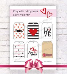 Étiquette imprimable Saint-Valentin, Valentine printable gift tag, gift label valentine's day à imprimer Graphic, Advent Calendar, Creations, Etsy, Holiday Decor, Home Decor, Printable Labels, Handmade Gifts, Decoration Home