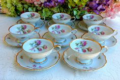 8 Beautiful Vintage German Porcelain Cups & Saucers Edelstein Moss Rose Gold…