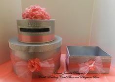Wedding Cake Card Box & Program Box Coral Bling by SweetJonesin,  #cardboxes #envelopeholders