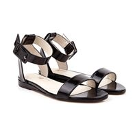 Beyond Skin Pip black vegan flat ankle strap sandal | black patent faux non leather pleather with synthetic faux leather lining 100% Vegan, vegetarian and cruelty-free.