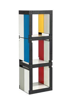 """Bibliothèque Fabulem de la """"Collection Artistes n°1"""", inspiration Mondrian  Avec 10 lems, vous faites cette bibliothèque modulable, que vous pouvez également coucher. Elle vous offre du rangement pour aménager votre espace !"""