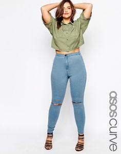 ASOS CURVE - Rivington - Jegggings di jeans a vita alta blu London con 2 strappi
