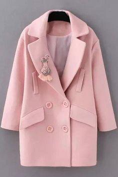 Solid Color Long Sleeve Woolen Coat