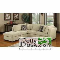 Contemporary 3 Pieces Cream Fabric Sectional Sofa Set Couch
