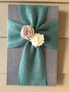 Turquoise Burlap Cross with Cream and Tan Flowers by TheBurlapCross1 on Etsy https://www.etsy.com/listing/266587181/turquoise-burlap-cross-with-cream-and