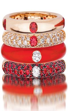 Adolfo Courrier Classic Lipstick 18 Karat Rose Gold, Enamel, Red Sapphire, & Diamond Stack Ring Set.
