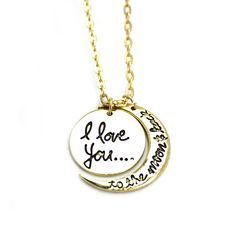 068 new pandant necklace (i love you to the moon and back) ,only $4.99 shop at www.costwe.com