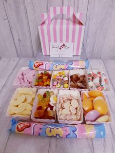Pick N Mix gift box Retro Sweet Hampers, Retro Sweets, Pick And Mix, Big Night, Easter Treats, Sweet Cakes, New Shop, Trays, Pink White