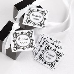 Flourish Frame Wedding Favor Cards http://bustlingbride.carlsoncraft.com/Wedding/Favors/ZB-ZBK30341-Flourish-Frame-Favor-Cards.pro black and white favors