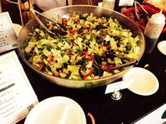 Office Catering: Fattoush Salad: Romaine Lettuce, Arugula, Mint, Cucumbers, Radish, Green and Red Peppers, Tomatoes, Onions, Sumac in a Pomegranate Molasses Vinaigrette dressing with Homeade Pita Chips. Deliciously wonderful!