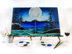 Grab your partner for a fun date night! Two canvases make one picture with this cool scene. Winter Love, Winter Night, Cool Paintings, Beach Paintings, Best Cleaning Products, Paint And Sip, Lily Pond, Marble Art, Event Calendar