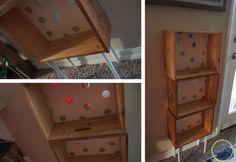 a polka dotted drawer bookshelf Drawer Bookshelf, Bookshelves, Hardwood Floors Restore, Steel Wool And Vinegar, Chest Of Drawers Makeover, Ikea Basket, Insect Hotel, Wooden Snowflakes, Picture Shelves