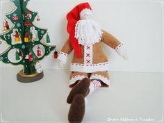 Papai Noel tilda, para a decoração de natal ficar muito mais linda, todo em tecido. R$ 85,00
