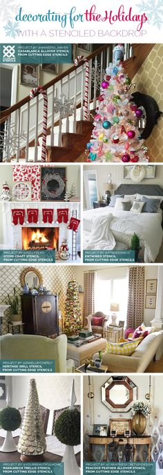 Cutting Edge Stencils shares stenciled accent walls that act as a beautiful backdrop for Christmas decorating. http://www.cuttingedgestencils.com/wall-stencils-stencil-designs.html