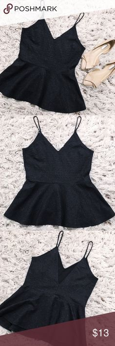 ♠️ H&M Black shimmer Flare Top ♠️ Super cute flare top by H&M! Has a marvelous shimmer to it and is NWOT having never been worn! Happy Poshing!    Same/Next Day Shipping  Odor Free  Pet Free  PayPal/Trad H&M Tops