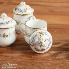 Antique Decor and Accessories | Antique China and Ceramics | Set of 17 Hand-Painted Porcelain Cream Pots with Serving Platter | www.inessa.com