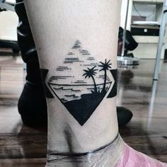 Small Simple Triangle Beach Tattoo Designs For Men Near Ankle
