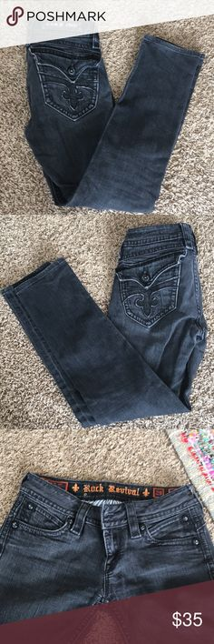 """Rock revivals Black jeans, color has faded a bit. So cute, missing the i in revival. My favorite jeans ☹️ sadly my butt has become to big. 28"""" inseam. Size 29 I have them listed as 28, they run a little tight. Rock Revival Jeans Skinny"""