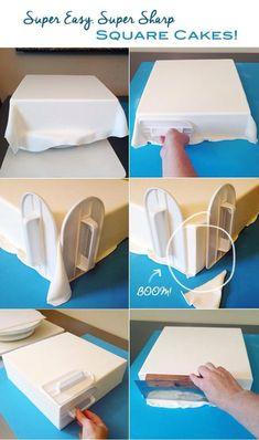Scherpe hoeken bij vierkante taart