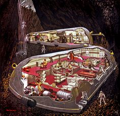 Cutaway or cross-section drawings are mostly just fancy residues of a long-gone era when engineering and architecture visualisation was based on hand-drawn images that were often closer to art than boring illustration. Science Fiction Kunst, Underground Homes, Underground Shelter, Cities, Cross Section, Vintage Space, Architecture Visualization, Man On The Moon, Retro Futuristic