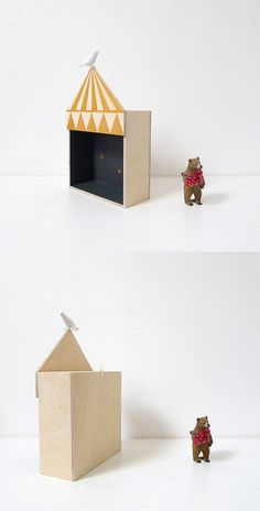 Kids room decor circus box shelf plywood by TheBirdOnTheTree (inspiration for puppet show).