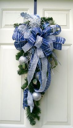 Blue Christmas Swag Wreath Blue and silver door by LisasLaurels