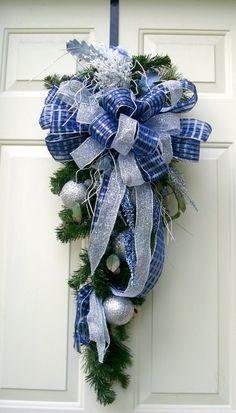 Blue Christmas Swag Wreath Blue and silver door by LisasLaurels