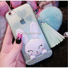 Cute Faux Bunny Fur Ball Rabbit Silicone Case for iPhone 6 / 6S 4.7inch - Lake Blue