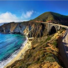 Bixby Bridge from Above ~ Highway 1 (the Pacific Coast highway), Big Sur, California. On my bucket list. Big Sur California, California Dreamin', California Honeymoon, Pacific Coast Highway, Highway 1, Oregon Coast, Pacific Ocean, Beautiful Roads, Beautiful Places