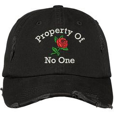 Property of No One Distressed Dad Hat ($20) ❤ liked on Polyvore featuring accessories, hats, baseball caps, distressed ball cap, embroidered caps, baseball hat and ripped hats