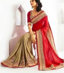 Buy Red embroidered jacquard saree with blouse jacquard-saree online