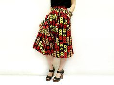 Navy Blue Red and Yellow Flared African Midi Skirt Unique