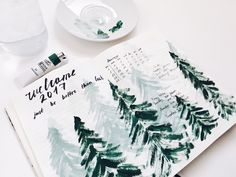 Watercolor trees pine