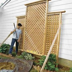 How to Build a Trellis I'd like to start some clematis vines. This seems a bi. How to Build a Trellis I'd like to start some clematis vines. This seems a bit epic, but it look