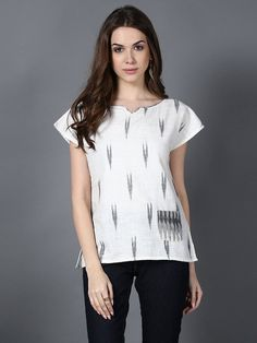 Cream Grey Handloom Cotton Ikat Top