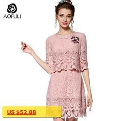 AOFULI S - 5XL Floral Lace Beaded Dress Half Sleeve 2018 Bee Applique Faux two-piece Plus Size Women Half Sleeve Dresses 3767