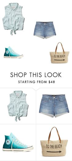 """""""going to the beach"""" by theycallmemandy ❤ liked on Polyvore featuring Abercrombie & Fitch, J Brand, Converse and Straw Studios"""