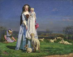 Ford Madox Brown - The Pretty Baa-Lambs, Oil on canvas. Ford Madox Brown's The Pretty-Baa Lambs, is thought to show the first time a figure had been painted outside instead of inside the studio. Dante Gabriel Rossetti, John Everett Millais, Ford, Art Marron, Sainte Cecile, Birmingham Museum, Google Art Project, Museum Art Gallery, Beauty