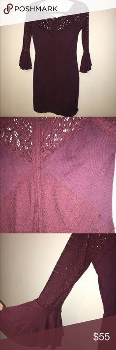 "FREE PEOPLE Burgundy City Girl Bodycon Dress PERFECT FOR FALL! The style is called ""city girl bodycon"" Such a pretty burgundy/ wine colored tight fitting dress with cute little bell like sleeves. Worn once. Very much like- new Free People Dresses Mini"