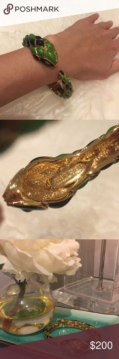 Authentic Roberto Cavalli Enamel Snake Bangle Beautiful Roberto Cavalli Enamel Snake Hinged Bangle Bracelet. Gold toned. Marked Roberto Cavalli, Made in Italy. Excellent Condition. Purchased 8/9 Years Ago at Beverly Hills Roberto Cavalli Boutique. Roberto Cavalli Jewelry Bracelets