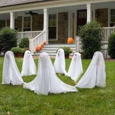 gartendeko halloween außen ideen gespenster kreis tanzen
