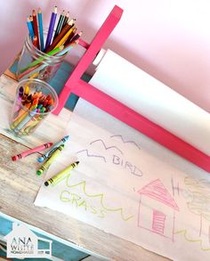 I want to make this!  DIY Furniture Plan from Ana-White.com  Make a craft paper roll holder! Free step by step diy plans to build your own craft paper roll holder.