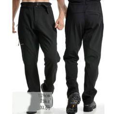 Men Outdoor Warm Waterproof Camping Hiking Fleece Elastic Pants Trousers L Black